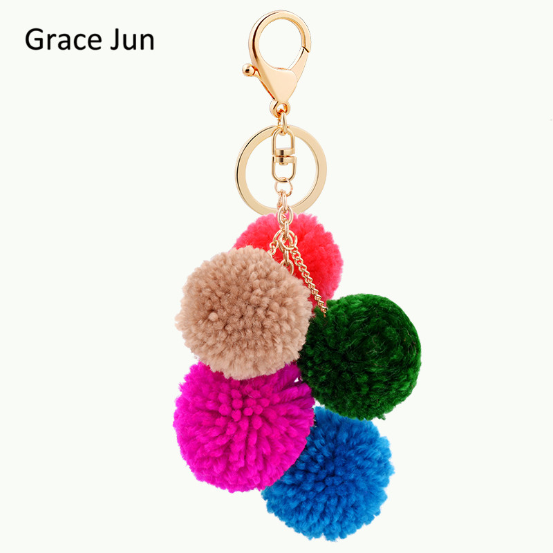 2017 New Hot Sale Pom Pom Fluffy Colorful Fur Ball Keychains Purse Bag Pendant for Women Car Keyrings Key Chain Holder Good Gift
