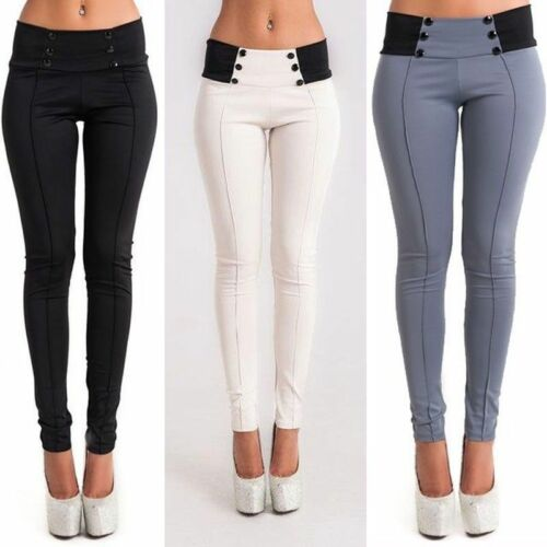 Women Ladies Casual Denim Skinny Pants High Waist Stretch Pencil Trousers New