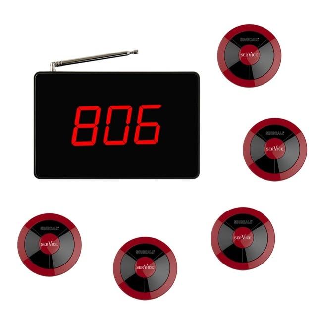 Singcall sem fio chamando system, pequeno Receptor de Tela Grande, Nenhum Parafuso Pager de 360 Graus À Prova D' Água, Pacote de 5 Pagers e 1 Receptor