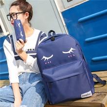 Новая коллекция спящая глаза печати холст женщины рюкзак мода простой все матч средней школы студент вскользь мешок книги