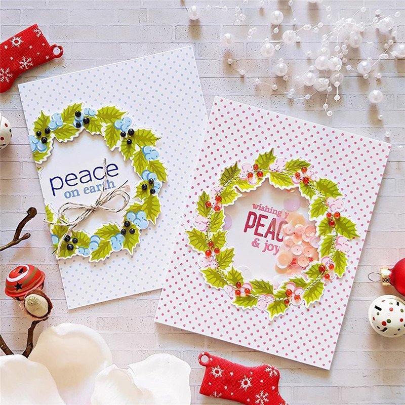 DiyArts Circle Wreath Dies Peace Word Flowers Metal Cutting Dies and Stamps New Scrapbooking Photo Album Cards Decor New 2019