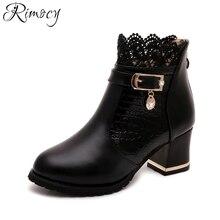 Rimocy noir rouge automne hiver en cuir Moto cheville bottes pour femmes  épais haute talons dentelle floral plate-forme chaussur. 92f80c9a400d