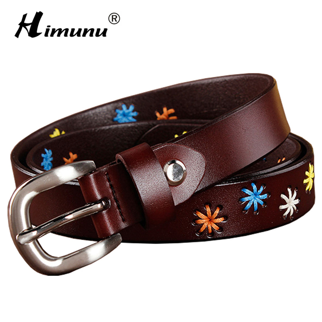 [HIMUNU]Fashion Brand Genuine Leather Belts for Women Vintage Floral Design Cowskin Belt Woman Top Quality Women belt 4 Color