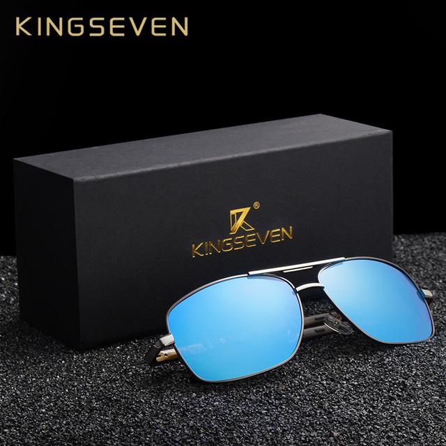 KINGSEVEN Brand Designer Men's Aluminum Magnesium Sun Glasses Polarized Mirror lens Male Eyewear Sunglasses For Men gafas