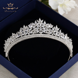 Bavoen Top Quality Royal Sparkling Zircon Brides Tiaras Crown Silver Crystal Bridal Hairbands Headpiece Wedding Hair Accessories