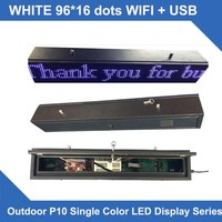 LED SCROLLING SIGN P10 white Single line LED scroller signs Led Display Board waterproof cabinet 16*96 dots wifi control system