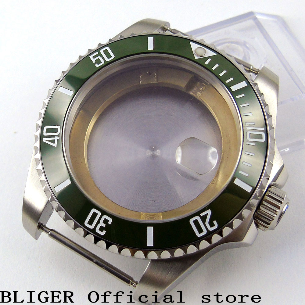 Solid 43mm Stainless Steel Green Ceramic Bezel Sapphire Glass Watch Case Fit For ETA 2836 Automatic Movement C48Solid 43mm Stainless Steel Green Ceramic Bezel Sapphire Glass Watch Case Fit For ETA 2836 Automatic Movement C48
