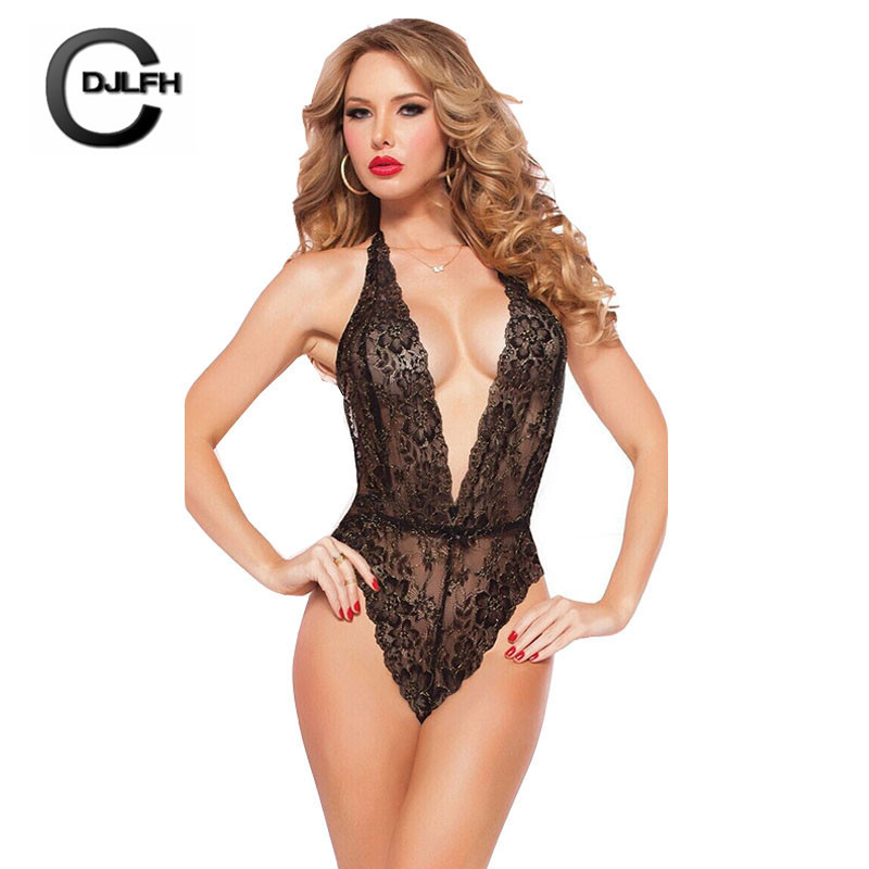 CDJLFH 2018 New Sexy Women Lingerie Suit Lace Deep V Erotic Underwear Black Red White Solid Color One-piece Women   Bra     Set
