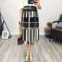 Fashion Trends New Style Casual Pleated Skirt For Girl All Match Stripe Multicolor Simple Skirts Classics