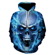 Red Spy 2018 New Fashion Spring and autumn 3D Sweatshirt Men Thin Hoodie Blue Skull Tops Hoodie Street casual pullover