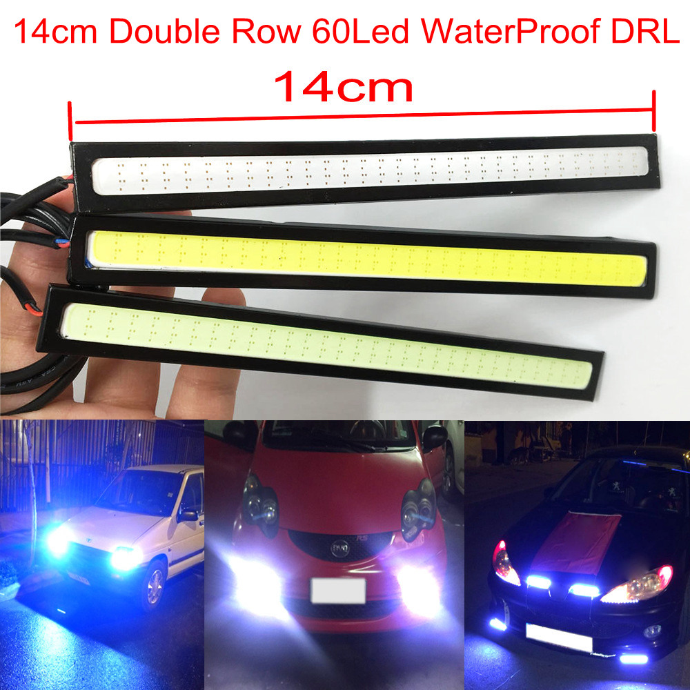 2X White Blue 14cm COB 60Leds Double Row Car Led Auto DRL Driving Lamp Daytime Running Light DC 12V Waterproof Fog Light 2pcs universal car daytime running light led cob 12v drl auto driving front fog lamp white bulb waterproof 6000k