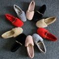2017 Women flats Fur shoes Woman Genuine leather oxford shoes Size 34-39 Spring shoe for young girls School shoes Woman F1011