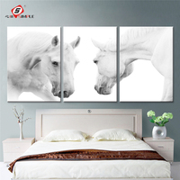 Oil Painting The White Horses Decoration Painting Set Of 3 Home Decor On Canvas Modern Wall