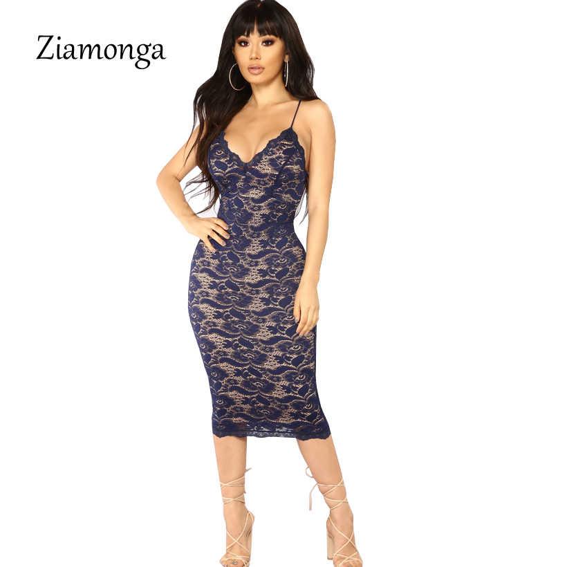 23f5a88af570b Ziamonga Summer Women Bandage Dress Ladies Knee Length Midi Bodycon ...