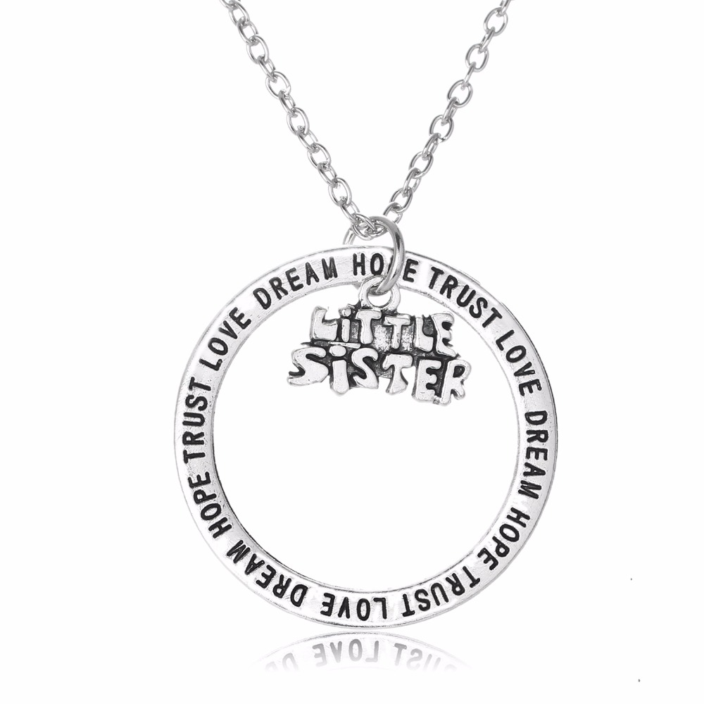 New Little Sister Sis Pendant Necklace Love Dream Hope Trust Charm Chain Jewelry Women Family Gifts BFF Best Friends Presents