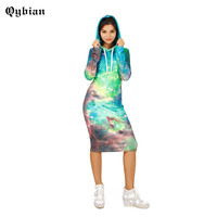 Qybian Fashion Women Sweatshirt Dress 2017 long Sleeve Sweatshirts sky printed Round neck Casual dress