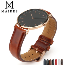MAIKES Watch Accessories Genuine Cow Leather Watch Strap For Daniel Wellington Stanless Steel DW Wrist Band Watchbands Bracelets new watches bracelet belt genuine leather watchbands 18 20mm accessories strap men women watch band for daniel wellington dw