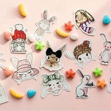 45 Pcs/box Cute rabbit  Mini Paper Stickers Decoration diy Diary Scrapbooking Label Sticker Stationery kawaii School Supply
