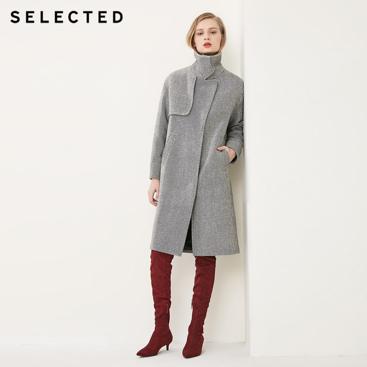 SELECTED Women s Autumn Twill Lapel Medium Style Woolen Coat S 4181J4501