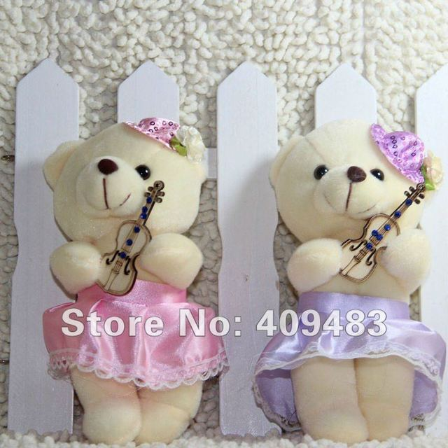 2012 hot sale holding a violin and dressed wedding dress  plush bear toy