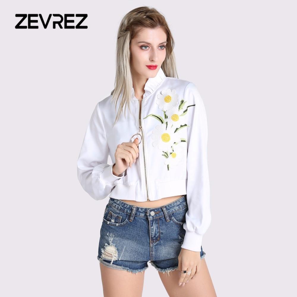 2018 herbst Frauen Weiß Jacke Ruffled Kragen Zipper Grundlegende Mantel Mode Lässig Weibliche Winter Kurze Mäntel Floral Jacken Zevrez