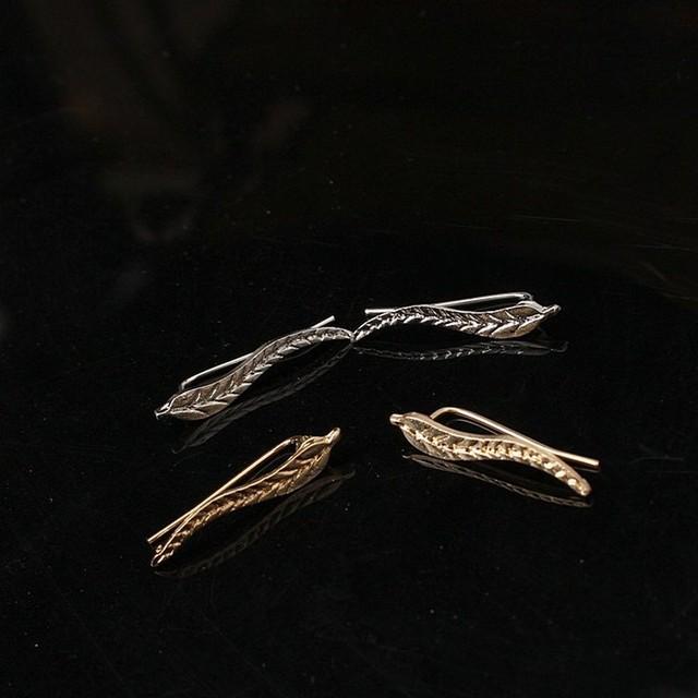 Ear Sweep Wrap Silver Gold Ear Climber Ear Clip Cuffs Leafs Earrings