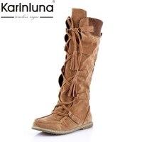 Karinluna 2018 Commercio All'ingrosso di marca scarpe donna stivali alti al ginocchio autunno inverno scarpe donna confortevole di stile occidentale stivali donna