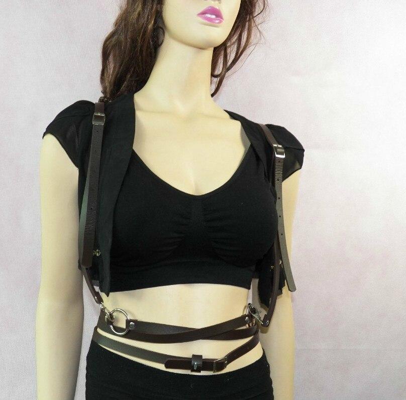 Gothic Suspender Women Leather Harness Sex Punk Cross