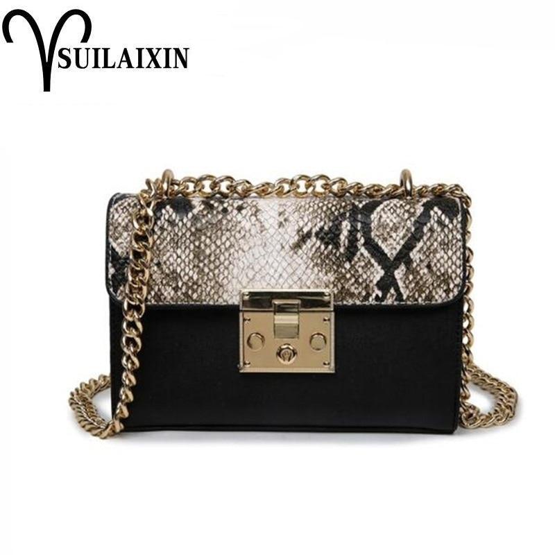 Змея сумки для Для женщин модные сумки на плечо цепочка Crossbody сумки из змеиной кожи Кроссбоди сумка