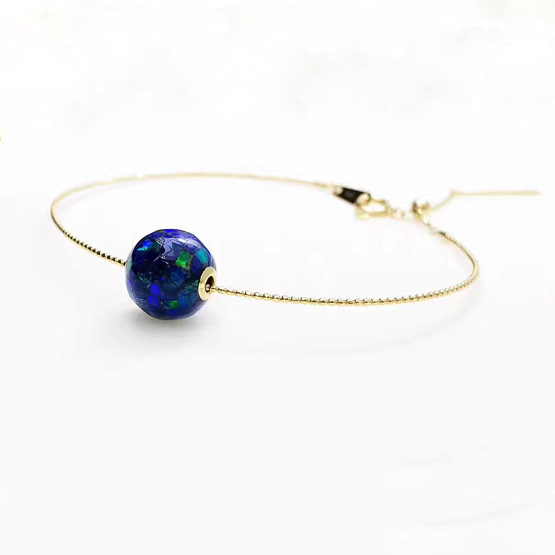 ANI 18K Yellow Gold Fahshion Women Bracelet Natural Opal Fine Color Gemstone Jewelry for Women Romantic Engagement Bracelet Gift rhinestone opal flower bracelet for women