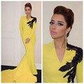 Arabia Árabe Amarillo mangas Largas Vestidos de Noche de La Sirena Con Cuentas Vestido de festa longo Dubai Vestidos formales vestidos de fiesta