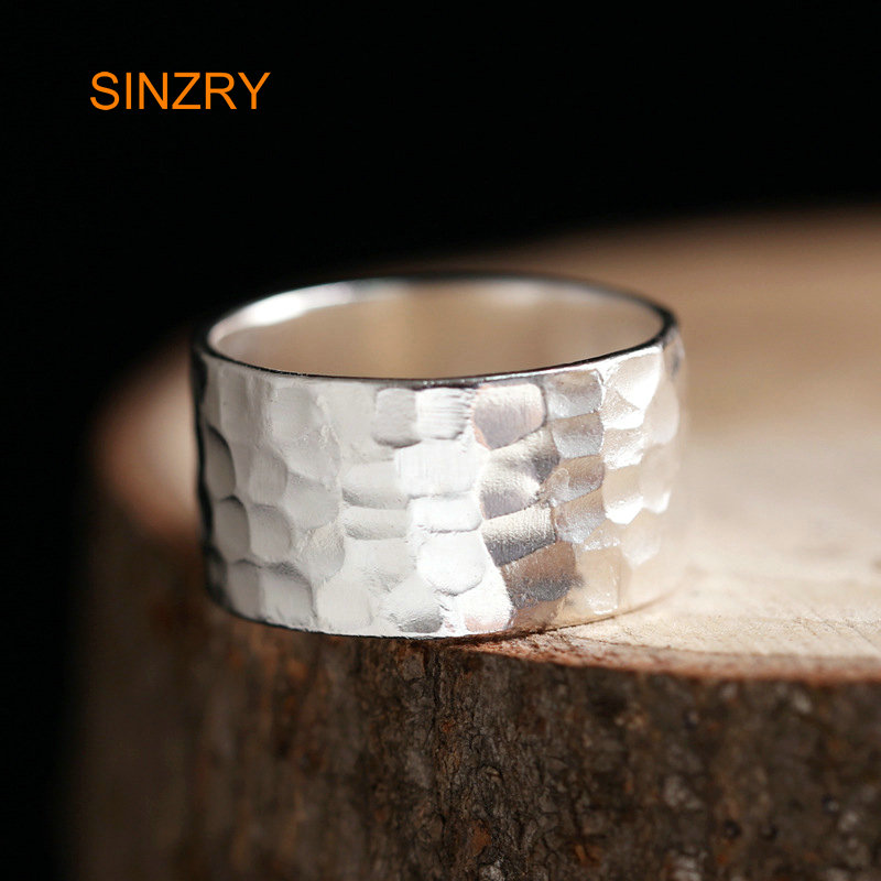 Sinzry NEW Originally Design Silver Jewelry 100% Handmade Sterling Silver Geometry Texture Wide Finger Rings Jewelry Gift