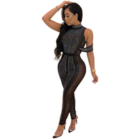Elegant Hot Drilling Women Jumpsuit O Neck Sexy Mesh Patchwork Slim Perspective Jumpsuit Night Club Female Body Bodycon Jumpsuit