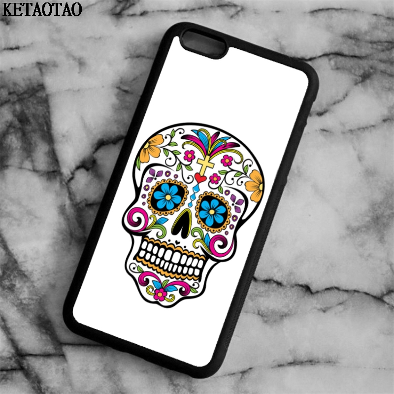 KETAOTAO COLORFUL Head Skull Pattern Phone Cases for iPhone 4S 5C 5S 6 6S 7 8 Plus X for Samsung Case Soft TPU Rubber Silicone