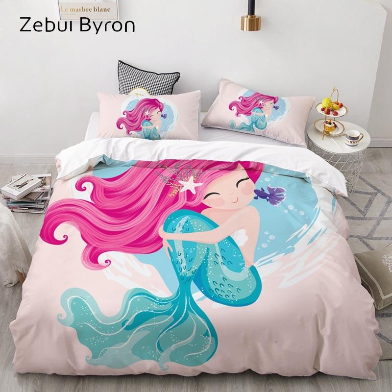 3D Cartoon Bedding Set For Kids/Baby/Children/Boy/Girl,Mermaid Duvet Cover Set Custom/USA Queen/King,Quilt/Blanket Cover Set