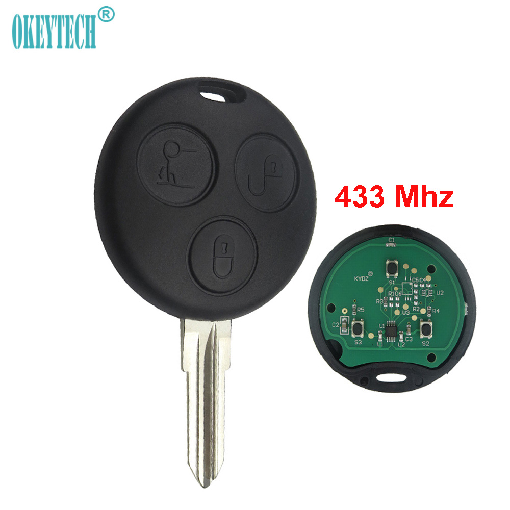 OkeyTech for Mecerdes Benz MB Smart Fortwo Forfour City Roadster Auto Remote Key Fob Blade 433MHz 3 Button Smart Card for Benz new updating smart key for benz 3 button 433mhz 315mhz easy to create a new key for mecerdes good quality