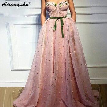 Pink Evening Dresses 2019 Sweetheart 3D Flower Green Velvet Sash Floor Length Tulle Long Zipper Back Floor Length Party Gown