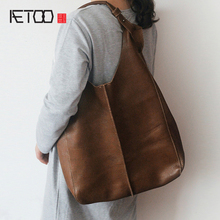 AETOO Genuine Leather Womens Bunny Cowboy Bag Japanese Style Large Capacity Cloak Pack Handbag Shoulder