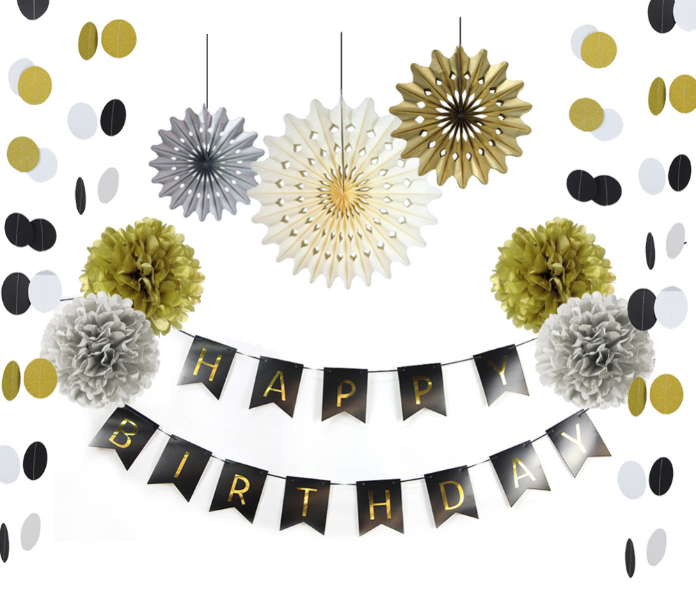 10pc Glitter Gold and Black Paper Decoration Set(H...