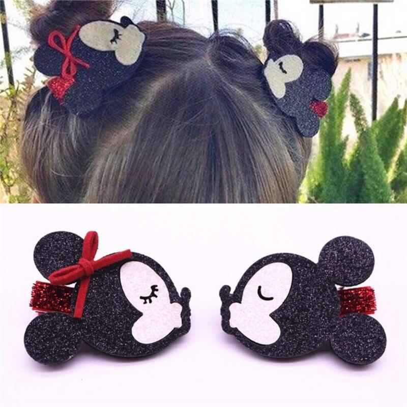 2pcs Children Hairpin Handmade Cartoon Minnie Mouse Ear Bowknot Wings Stars Hair Clips Accessories Kids Girls Barrettes Headwear