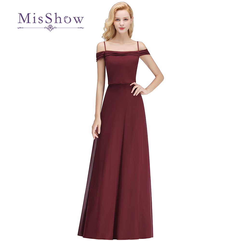2018 New Burgundy Off Shoulder   Bridesmaid     Dresses   Pleated Floor Length Wedding Guest Party Gowns Cheap Long Prom   Dress