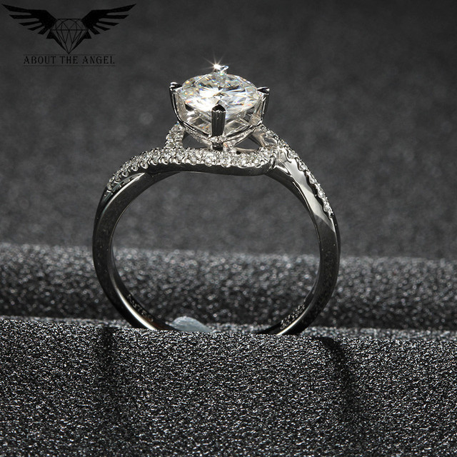 Fashion Style Cross Shank Lady Ring / 14 K Gold Ring / Moissanite Heart shape Prong Diamond Ring 1