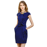 Plus Size High Quality Summer Dress Cute Dot Printed Petal Sleeve Knee Length Cotton Empire Dresses