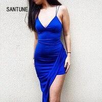 Santune Summer Asymmetrical Deep V Neck Split Blue Dress Backless Women Dress Sexy Apparel Party 2017