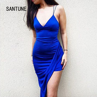 Santune Summer Asymmetrical Deep V Neck Split Blue Dress Backless Women Dress Sexy Apparel Party 2017