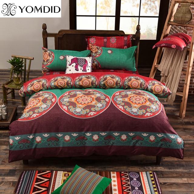 bohemian style 3pcs bedding set floral elephant printed bed linens twin queen king size 3pcs duvet