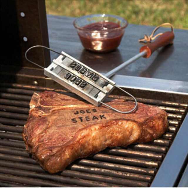 Aluminum Personality Steak Meat Letter BBQ branding iron changeable barbeque Cake branding mold with 55 Letters Tool Set