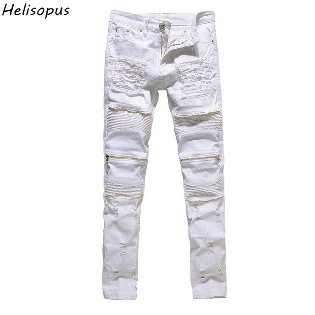 3916e4c95634b Hrelisopus hombres Strecth Jeans rotos agujeros vaqueros rasgados nueva  moda rojo blanco negro cremallera Jeans