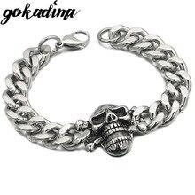 GOKADIMA Cool 316L Stainless Steel Skull Bracelet Chain For PUNK 2018 Biker Jewelry MEN BRACELETS WB173