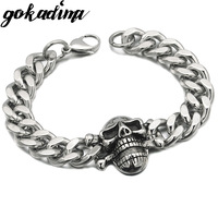 Cool 316L Stainless Steel MENS Skull Bracelet Chain For PUNK 2013 Biker Jewelry Wholesale Free Shipping